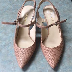 Nine West beige leather sling back heels